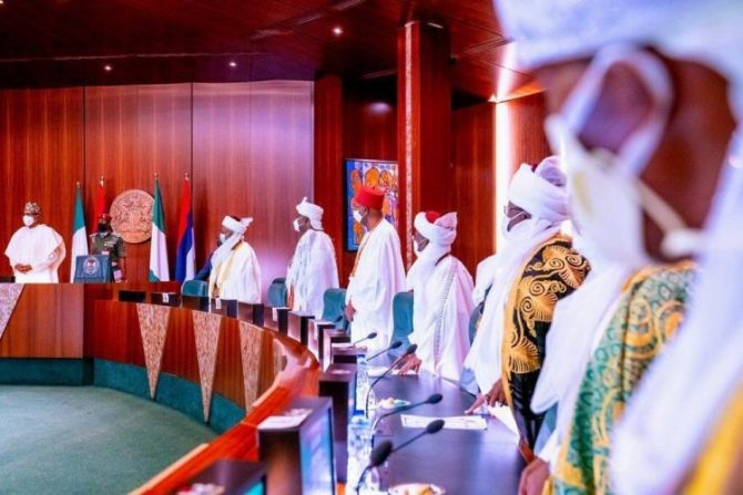 PHOTOS: Buhari receives Ooni, Sultan, other traditional rulers in Abuja
