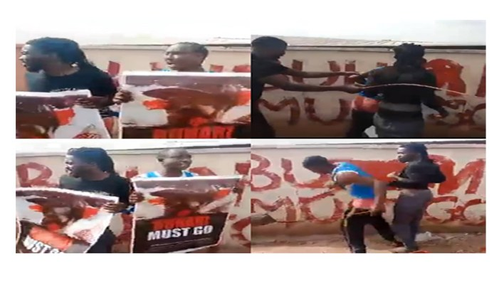 Video: Two men beaten for staging 'Buhari Must Go' protest in Kogi