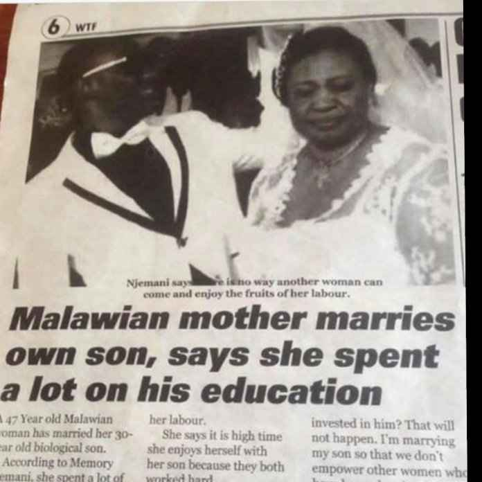Malawian Mother Marries Own Son, Says She Invested Lot Of Money On His Education