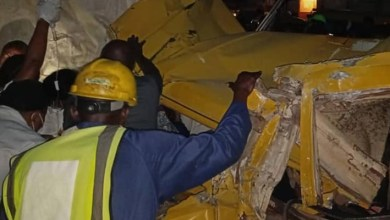 Photos: Three injured as truck rams into commercial bus in Lagos