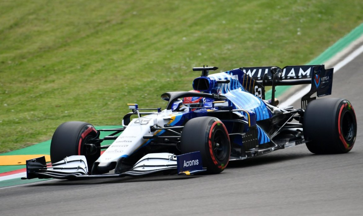 Williams driver George Russell at Imola for the Grand Prix