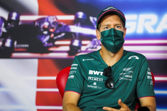 Sebastian Vettel during the presser at the F1 French GP