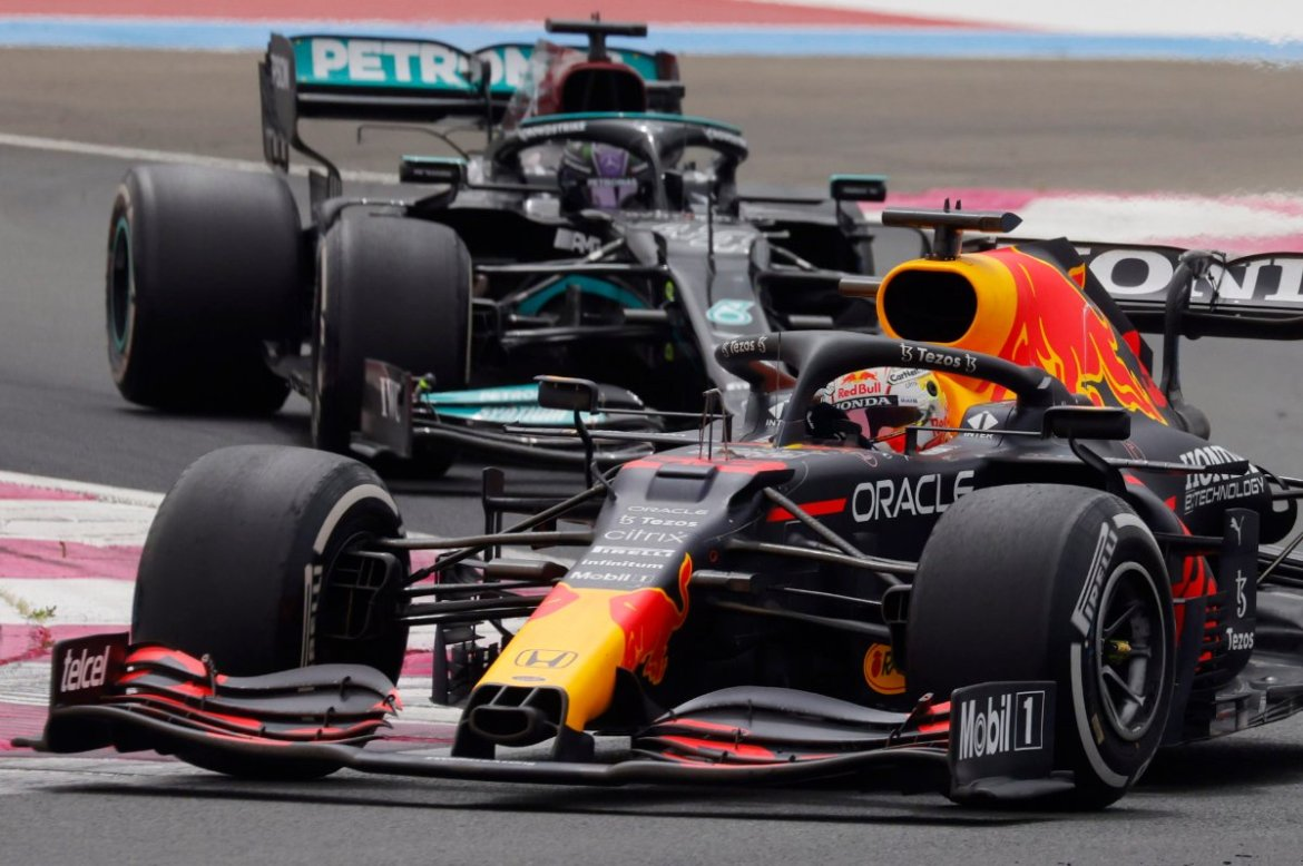 Max Verstappen and Lewis Hamilton in action at the French GP