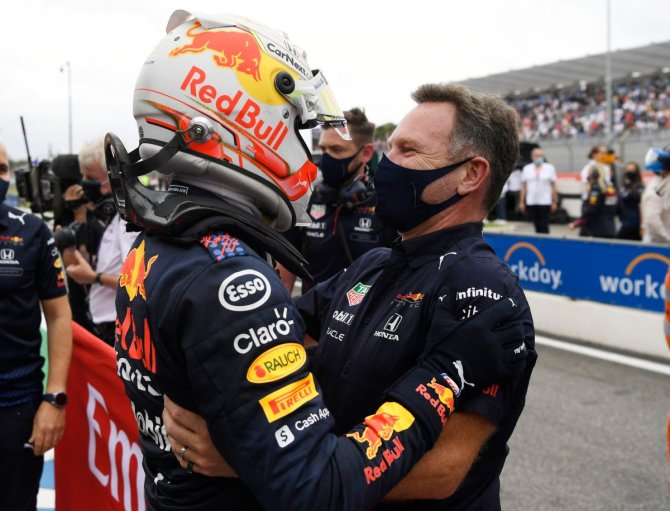 Max Verstappen and Red Bull boss following the race in France