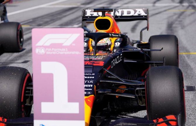 Max Verstappen's Red Bull on the grid after securing pole position