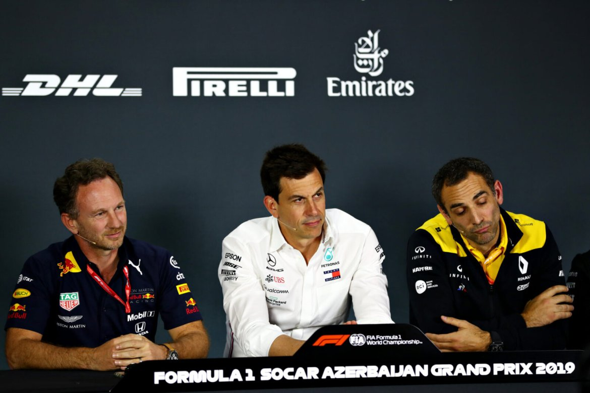 Christian Horner, Toto Wolff and Cyril Abiteboul during the press conference