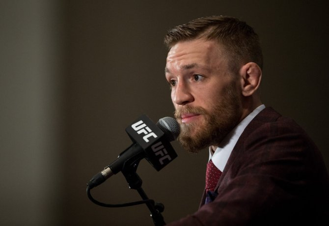 Conor McGregor addresses the media