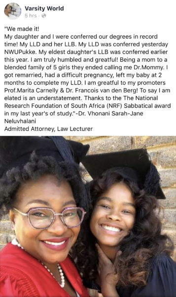 Mzansi mother and daughter bag law degree in same year