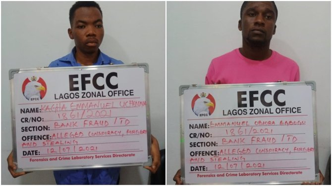 PHOTOS: EFCC nabs bankers over N52m theft after forging customer's signature, NIN