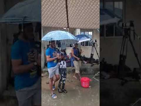 Raining seriously while on set in the compound 😂 #Shorts