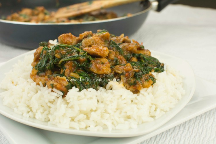 Chicken Stir fry with spinach served over Rice.