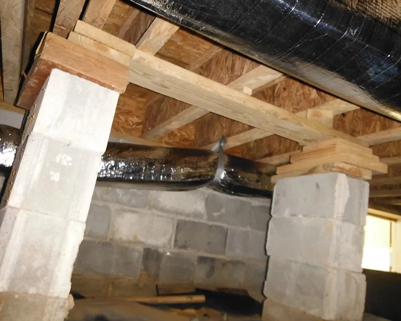 Collapsing crawl space support pillars