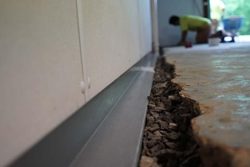 Perimeter drain installed in basement
