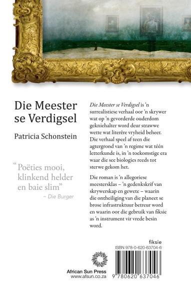 Back cover image of the Afrikaans novel, Die Meester se Verdigsel