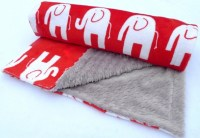 Elephant Baby Blanket - Red Black and White Minky Baby ...