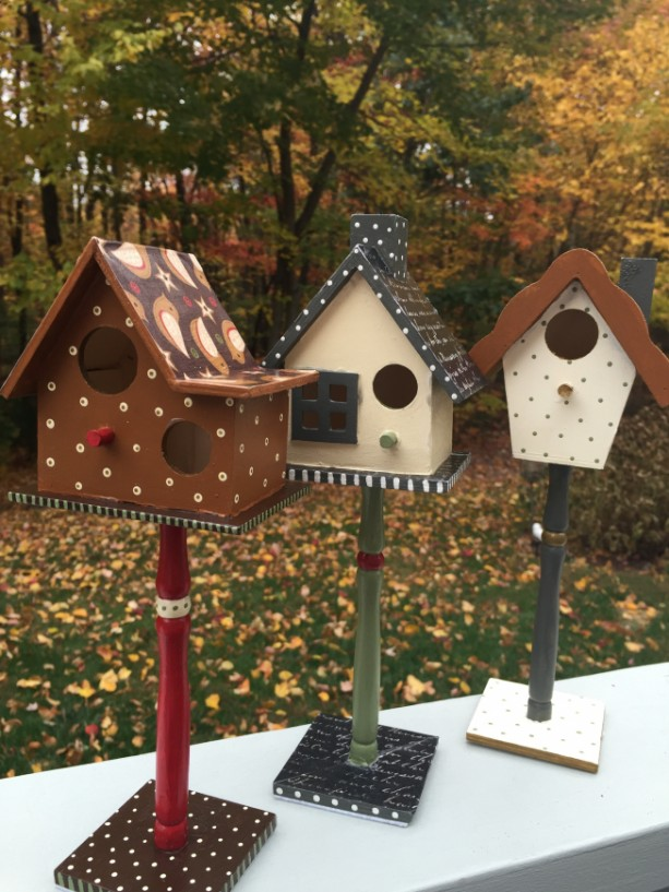 Hand Painted Decoupaged Decorative Birdhouse Set Aftcra