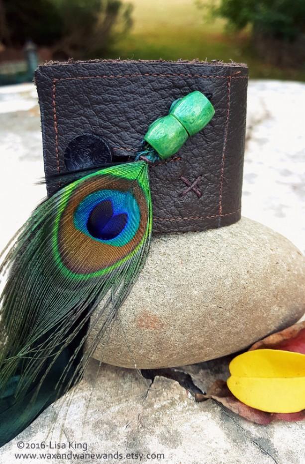 Peacock FeatherBrown Leather Unisex Bracelet Cuff  aftcra