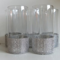 Centerpiece Cylinder Vase Lot Silver Bling Rhinestone ...