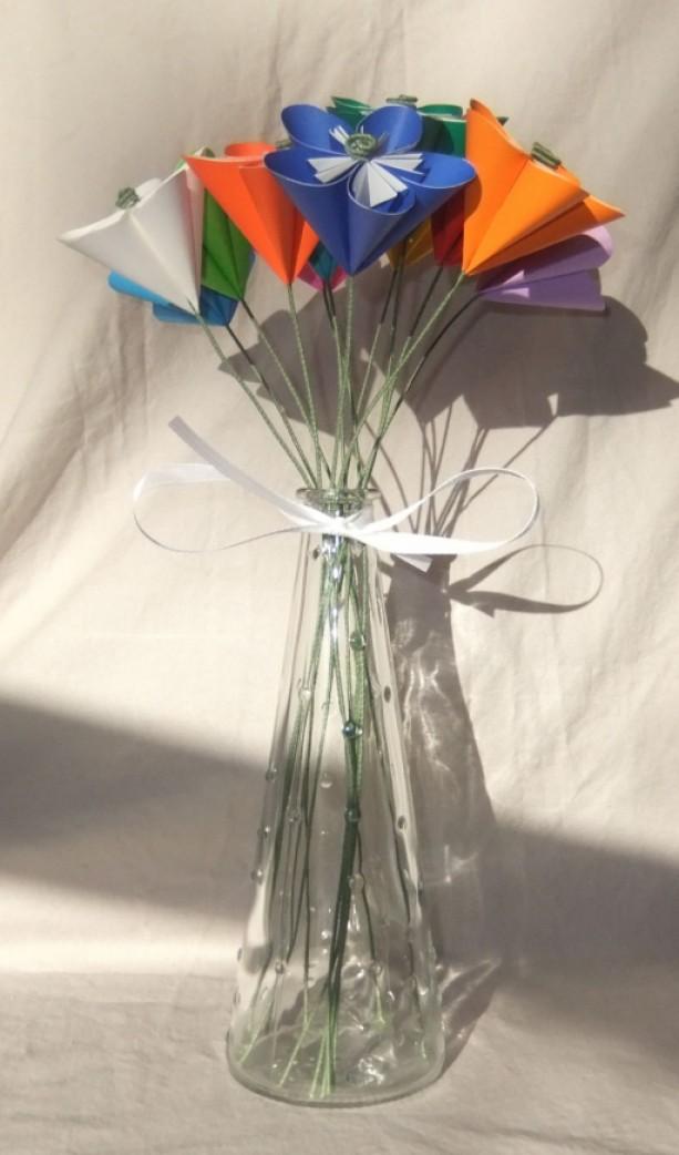 folding a paper flower