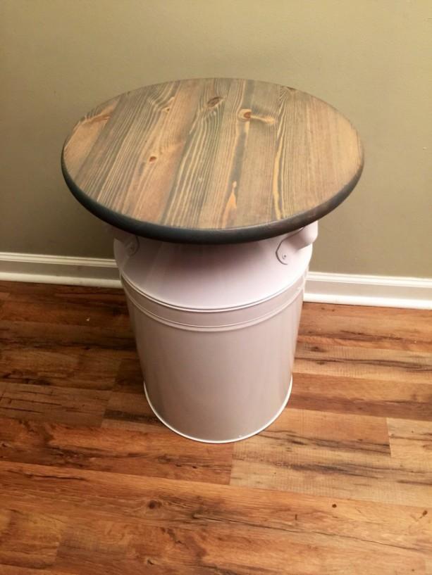 White milk jug wood end table rustic end table rustic