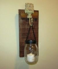 Rustic Owl Mason Jar Wall Sconce, Mason Jar Candle Holder ...