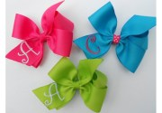 girls hair bow monogrammed personalized