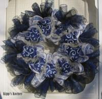 Blue Embroidered Ribbon Deco Mesh Wreath, Door Decor | aftcra