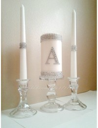 Unity Candle, Unity Wedding Candle Set, Silver Bling