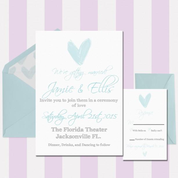 Light Blue And Gray Shabby Chic Wedding Invitation Printed Custom Letterpress Flat Watercolor Heart Rustic Deposit