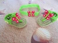Crochet baby sandals and headband, crochet sandals, baby ...