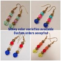 Red, White & Green Beaded Dangling Earrings, Gold Spacer ...