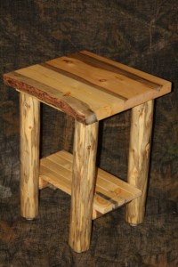Rustic Log Live Edge Bark On Top End Table / Night Stand ...