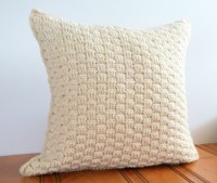 Wool Throw Pillow Cover 16x16, Rustic Cream Pillow Cover ...