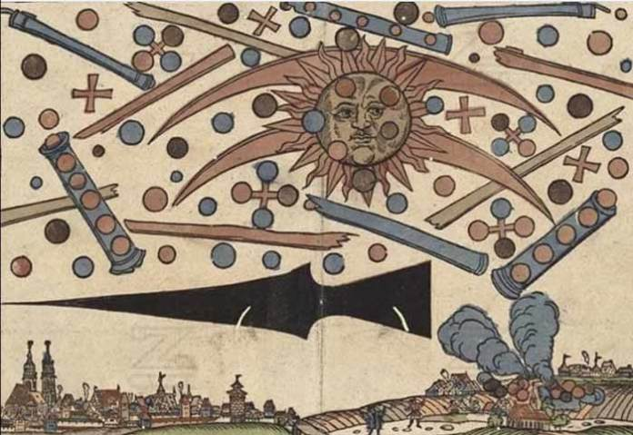 "Ufo nell'arte - ""Ufo battle over Nuremberg"". Printed in an illustrated news notice 1561"