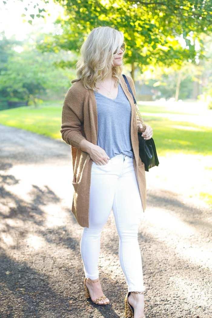 NSALE- Cozy Sweater - Fall wardrobe Transition - White Denim -4
