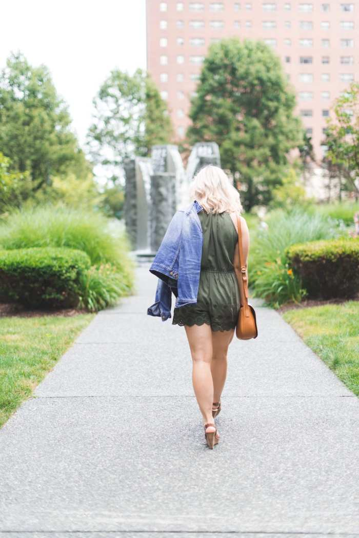 Blogger, Ashley Pletcher from Afternoon Espresso wearing a Target romper under $20 paired with a Madewell Denim jacket.