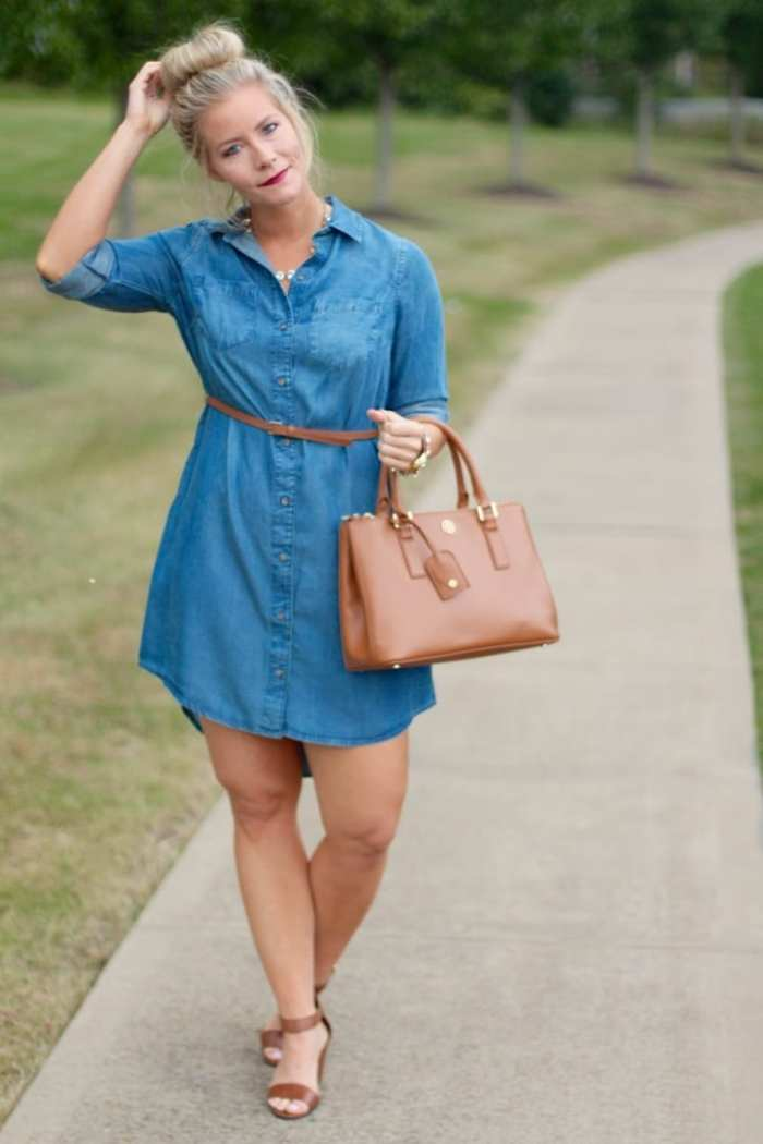 Ashley Pletcher believes a classic chambray dress is the perfect Fall essential and can be worn into colder months by layering it with a sweater.