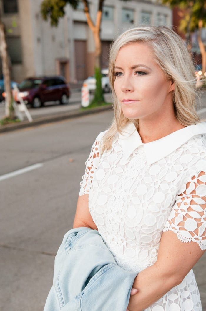 Blogger,  Ashley Pletcher explores downtown Pittsburgh for a date night in her Chicwish Dress and a J.Crew jacket for a cool evening.