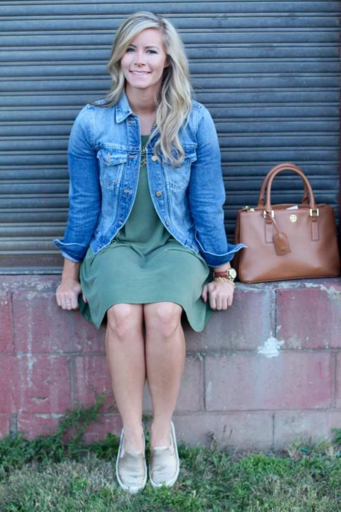 Blogger, Ashley Pletcher starts to transition her wardrobe to a Fall look with this Madewell Denim jacket and tee shirt dress from Nordstrom.
