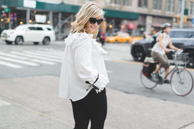 Blogger, Ashley Pletcher, on the bustling streets of NYC waiting for her next NYFW show to start wearing an Asos Blouse, Express cropped pants, and Jimmy Choo pumps!