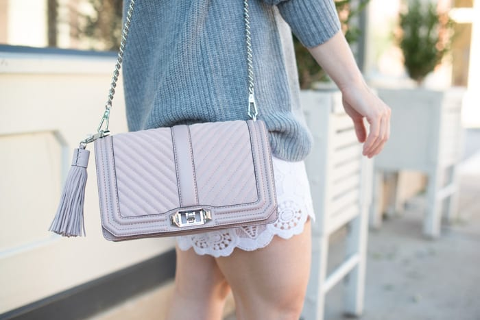 Fashion Blogger, Ashley Pletcher starts transitioning clothing into a Fall wardrobe starting with this beautiful pink Rebecca Minkoff Bag.