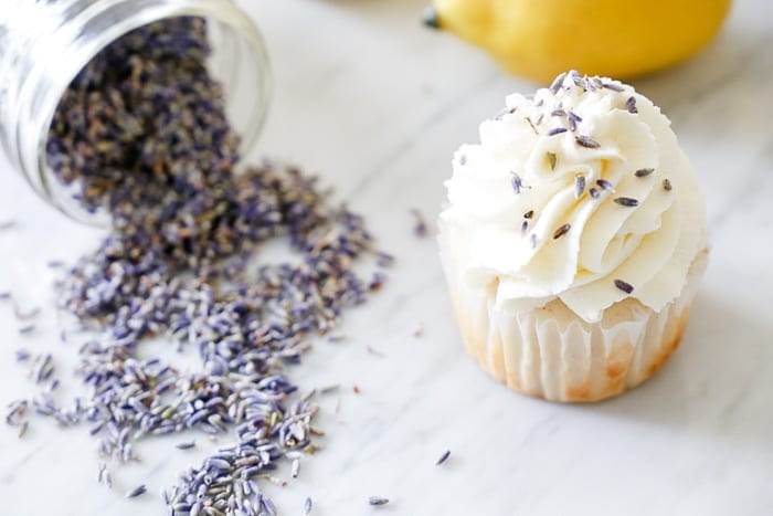 Ashley Pletcher combines lemon and lavender for a lemon lavender cupcake recipe on her blog Afternoon Espresso.