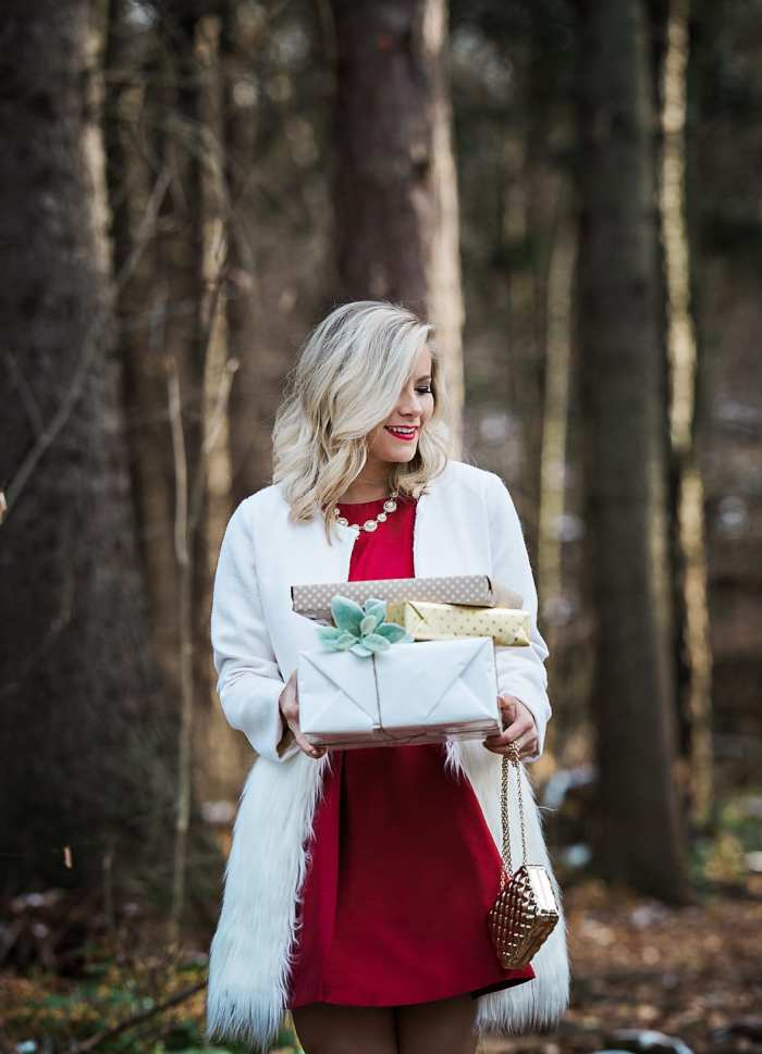 Holiday Party- 12 Days of Giveaways - Christmas- Lulus Bow Dress- Chichwish Coat