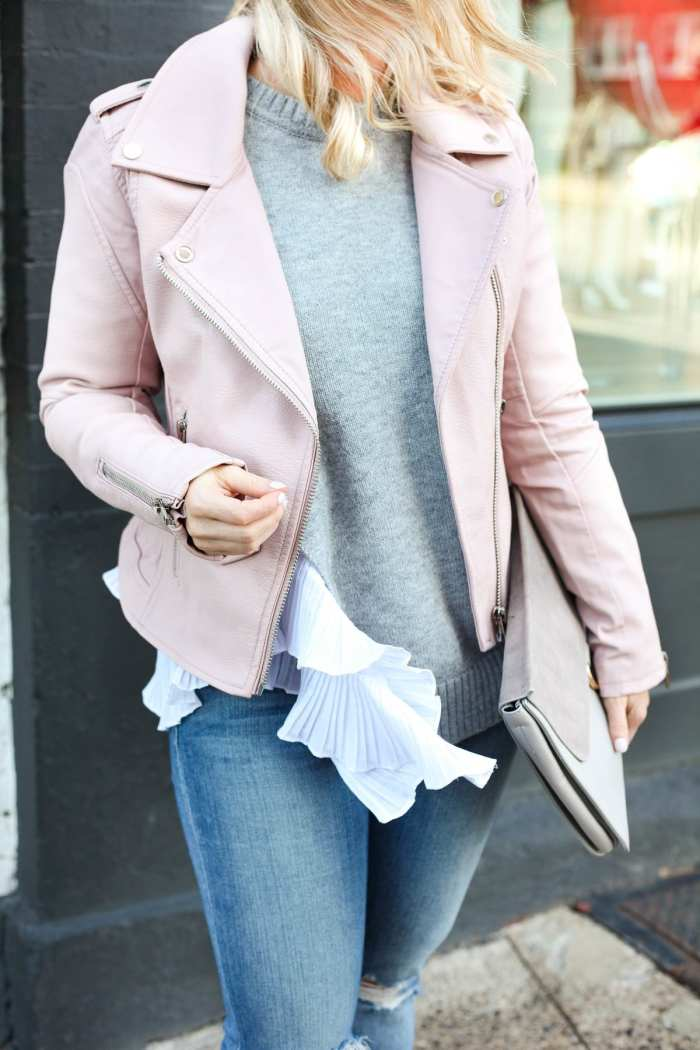 Blush Pink Moto Jacket To Transition Into Spring
