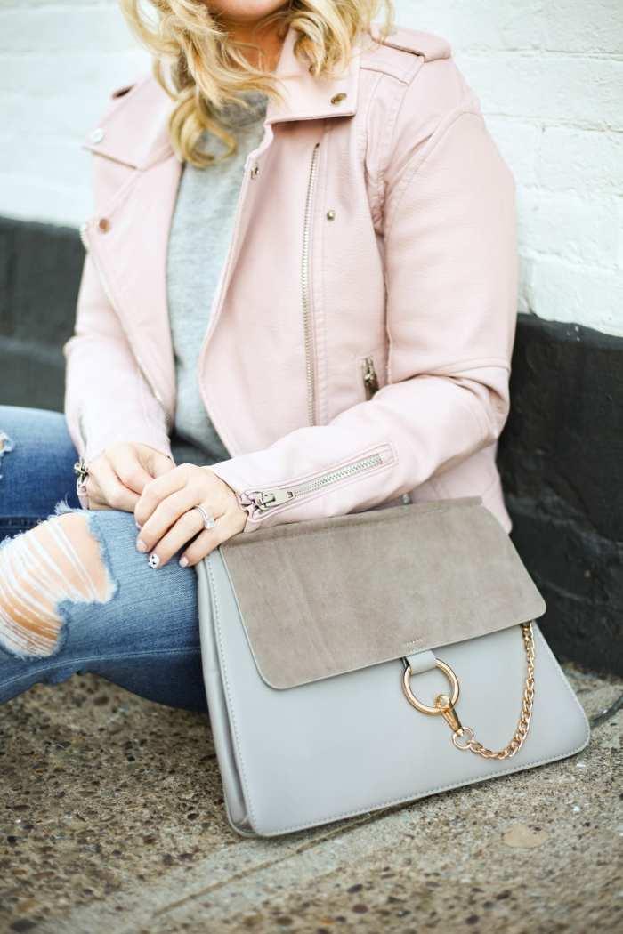 The perfect BLANKNYC Blush moto jacket and a chloe dupe handbag