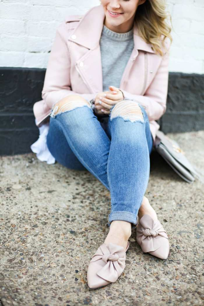Spring transition pieces - Topshop bow mules - blush- Joe's Distressed Jeans