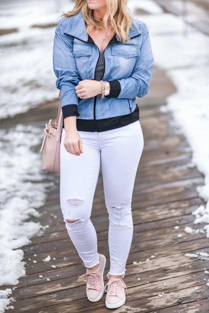 Spring Athleisure- Fashion- Ashley Pletcher- Blogger- Afternoon Espresso- Pittsburgh - Chelsea Collective - Lucy IndiGo- JBrand Denim
