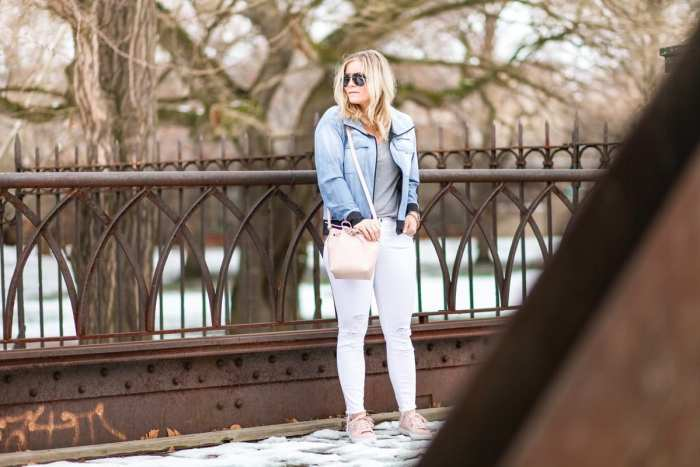 Spring Athleisure- Fashion- Ashley Pletcher- Blogger- Afternoon Espresso- Pittsburgh - JBrand Denim- Blush Sneakers - Lucy IndiGo