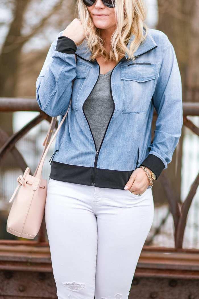 Spring Athleisure- Fashion- Ashley Pletcher- Blogger- Afternoon Espresso- Pittsburgh - Chelsea Collective - Lucy IndiGo Jacket