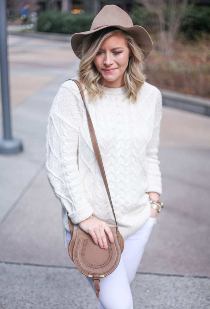 Urban Outfitters Cable Knit Sweater (Sale!) - Spring Transition Look - How to wear a hat